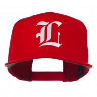 Old English L Embroidered Flat Bill Cap - Red