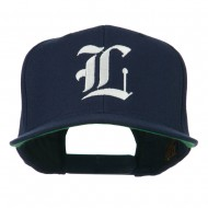 Old English L Embroidered Flat Bill Cap - Navy