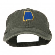 Alabama State Map Embroidered Washed Cap - Black
