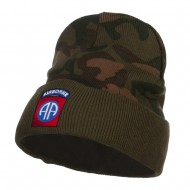 82nd Airborne Embroidered Camo Long Beanie - Green