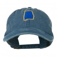 Alabama State Map Embroidered Washed Cap - Navy