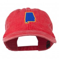 Alabama State Map Embroidered Washed Cap - Red