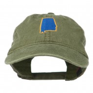 Alabama State Map Embroidered Washed Cap - Olive