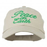 Peace on Earth Embroidered Washed Cap - Khaki