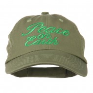 Peace on Earth Embroidered Washed Cap - Olive