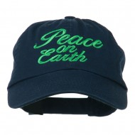 Peace on Earth Embroidered Washed Cap - Navy