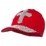 Cross Embellished Stones Baseball Cap - Red