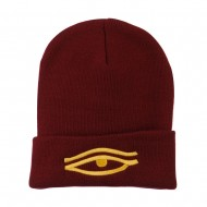 Eye That Sees All Embroidered Long Beanie - Maroon