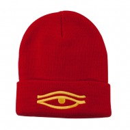 Eye That Sees All Embroidered Long Beanie - Red