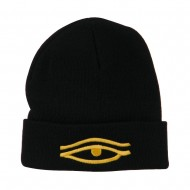 Eye That Sees All Embroidered Long Beanie - Black