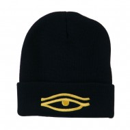 Eye That Sees All Embroidered Long Beanie - Navy