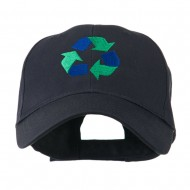 Environment Friendly Recycle Logo Embroidered Cap - Navy