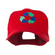 Environment Friendly Recycle Logo Embroidered Cap - Red