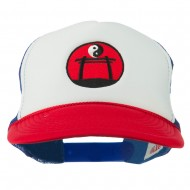 Yin Yang Embroidered Foam Mesh Cap - Red White Red
