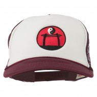 Yin Yang Embroidered Foam Mesh Cap - Maroon White