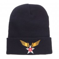12th Air Force Badge Embroidered Cuff Beanie - Navy