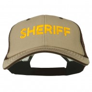 Sheriff Embroidered Big Size Garment Washed Mesh Cap - Brown Beige