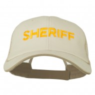 Sheriff Embroidered Big Size Garment Washed Mesh Cap - Putty Beige