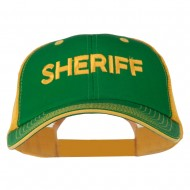 Sheriff Embroidered Big Size Garment Washed Mesh Cap - Kelly Gold