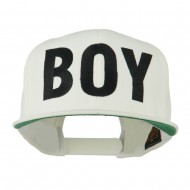 Flat Bill Hip Hop Casual Boy Embroidered Cap - White