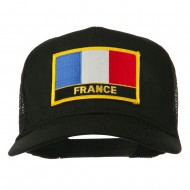 France Country Patched Mesh Back Cap - Black