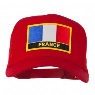 France Country Patched Mesh Back Cap - Red