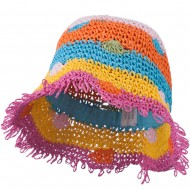 Girl's Toyo Bucket Shaped Hat with Fringe Edge and Polka-Dot Detail - Multi Colored