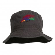 Fly Fishing Embroidered Pigment Dyed Bucket Hat - Charcoal