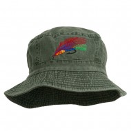 Fly Fishing Embroidered Pigment Dyed Bucket Hat - Green