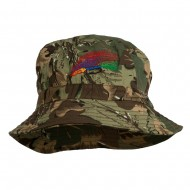 Fly Fishing Embroidered Pigment Dyed Bucket Hat - Camo