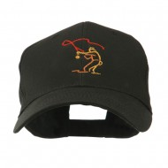 Fly Fishing Man Outline Embroidered Cap - Black
