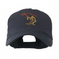 Fly Fishing Man Outline Embroidered Cap - Navy