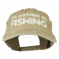 I'd Rather Be Fishing Embroidered Washed Cotton Cap - Khaki