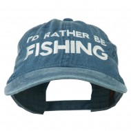 I'd Rather Be Fishing Embroidered Washed Cotton Cap - Navy