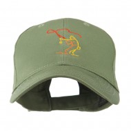 Fly Fishing Man Outline Embroidered Cap - Olive