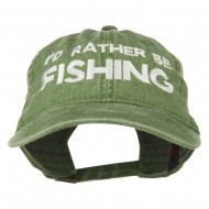 I'd Rather Be Fishing Embroidered Washed Cotton Cap - Olive Green