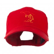Fly Fishing Man Outline Embroidered Cap - Red