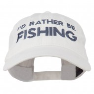 I'd Rather Be Fishing Embroidered Washed Cotton Cap - White