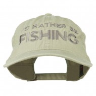 I'd Rather Be Fishing Embroidered Washed Cotton Cap - Stone