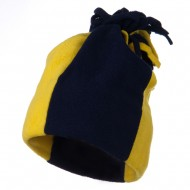 Fleece Winter Beanie Hat - Navy Gold