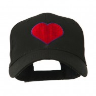 Filled Heart Symbol Embroidery Cap - Black