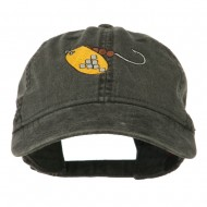 Fishing Spinner Embroidered Washed Cap - Black