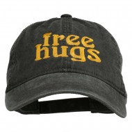 Free Hugs Embroidered Washed Dyed Cap - Black