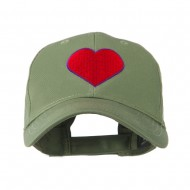 Filled Heart Symbol Embroidery Cap - Olive