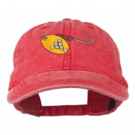 Fishing Spinner Embroidered Washed Cap - Red