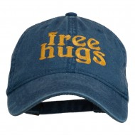 Free Hugs Embroidered Washed Dyed Cap - Navy