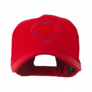 Filled Heart Symbol Embroidery Cap - Red