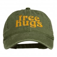 Free Hugs Embroidered Washed Dyed Cap - Olive Green
