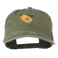 Fishing Spinner Embroidered Washed Cap - Olive Green