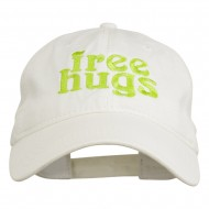 Free Hugs Embroidered Washed Dyed Cap - White